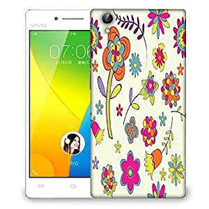 Snoogg Colorful Flower Designer Protective Phone Back Case Cover For VIVO Y51 L