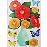 5 Pcs Flower Butterfly (1b287) - 3D Easy To Peel Art Wall Decor Sticker Hoom Room Decoration Ideas