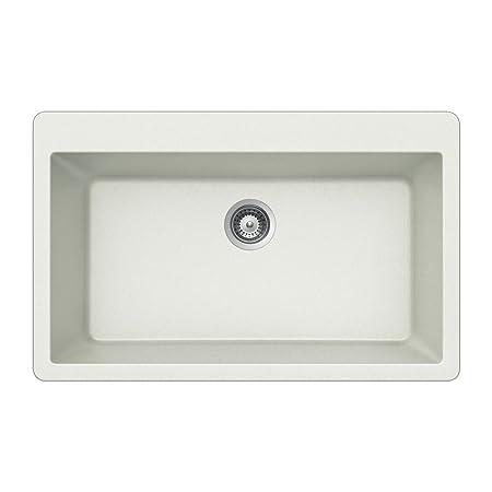 Houzer V-100 CLOUD Quartztone Series Granite Top Mount Single Bowl Kitchen Sink, White