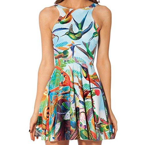 Donna Fit a pieghe senza maniche elastico stampato geometrico e Flare vestito a pieghe (birds)