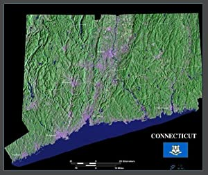 """Connecticut satellite map, print, poster, photo from space: 36"""" x 30.25"""" Glossy"""