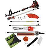 NEW TRUESHOPPING® 33CC 'TOTAL GARDENERX5' PETROL LONG REACH MULTI FUNCTION 5 IN 1 GARDEN TOOL OREGON CHAIN & BAR INCLUDING: HEDGE TRIMMER, STRIMMER, BRUSHCUTTER, CHAINSAW & FREE EXTENSION POLE 1.2KW / 1.2HP