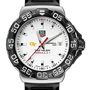 Georgia Tech TAG Heuer Watch - Mens Formula 1 Watch with Rubber Strap by TAG Heuer