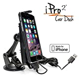 iPro2 MFI Approved Car Dock / Mount / Holder / for iPhone 5 / 5c / 5s / 6 / 6+ with integrated 2 meter Lightning Connector, works with most cases including Otterbox Defender and Lifeproof