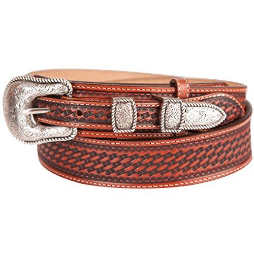Justin Men's Basketweave Leather Ranger Belt Reg And Big Brown 32 (Justin Western Belts compare prices)