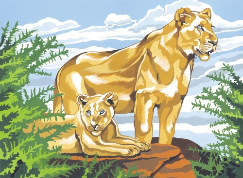 Reeves Lion and Cub Acrylic Painting Set by Numbers, Large - 1