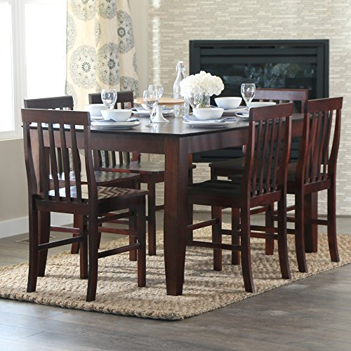 Walker edison 7 piece espresso wood dining set 60 inch for 60s kitchen set