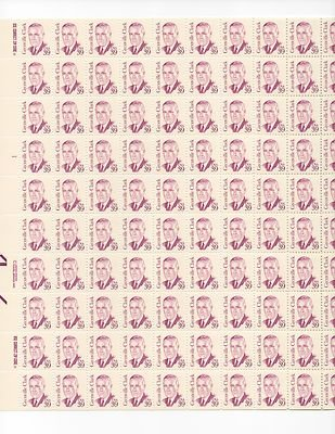 Grenville Clark Sheet of 100 x 39 Cent US Postage Stamps NEW Scot 1867