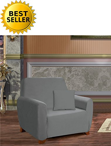 Elegance Linen Collection Luxury Soft Furniture Jersey STRETCH SLIPCOVER, Chair Gray