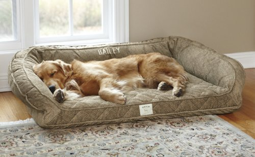 Fleece lined Deep Dish Dog Bed With Memory Foam