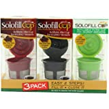 Solofill  Cup, Refillable Cup For Keurig Single serve cups Brewers, Red/Black and Green (Pack of 3)