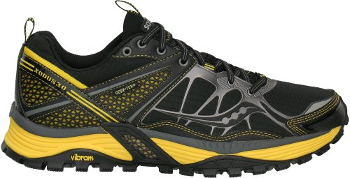 Saucony Men's Progrid Xodus 3.0 GTX Trail Running Shoe,Black/Yellow,9.5 M US