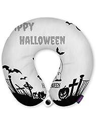 FUNKYLICIOUS Travel Pillow Happy Halloween Design (Multicolour)