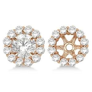 Round Cut Diamond Earring Jackets 14k Rose Gold (1.00ct)