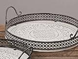 Tablett Holztablett Serviertablett Shabby Chic Holz weiß Antik-Look - D37cm