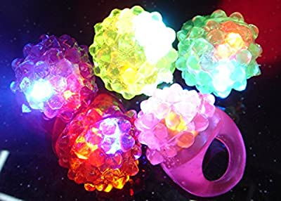 WOVTE® [Party Stars] Flashing LED Bumpy Jelly Ring Light-Up Toys (100 Pcs) from WOVTE