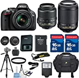 Nikon D5200 DSLR Camera Body Celltime Exclusive Bundle with Nikon 18-55mm VR Lens + Nikon 55-200mm VR Lens + HD U.V. Filter + Deluxe Camera Case + Celltime 6pc Starter Kit + Full Size Tripod + Electronic Flash + 2pcs 16GB Commander Extremespeed Memory Cards + Accessory Kit