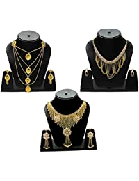 Eshopitude Indian Traditional CZ Gold Plated Combo Necklace Set For Women