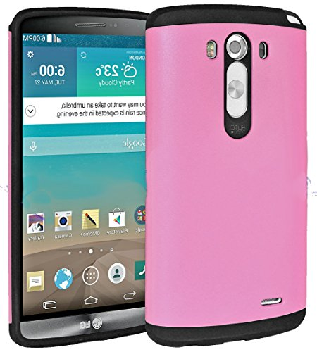 Mylife Crushed Berries Pink {Dual Layer Design} 2 Piece Hybrid Reflex Case For The Lg G3 Smartphone (Outer Rubberized Fit On Protector Shell + Internal Silicone Secure-Grip Bumper Gel) front-48503