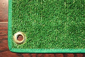 Outdoor Turf Rug / Aisle Runner - 4'x30' Green - Artificial Grass with Premium BOUND Nylon Edges and Grommits. 8 Oz. - 100% UV olefin. Light Weight Marine Back. Many Custom Sizes & Shapes Available