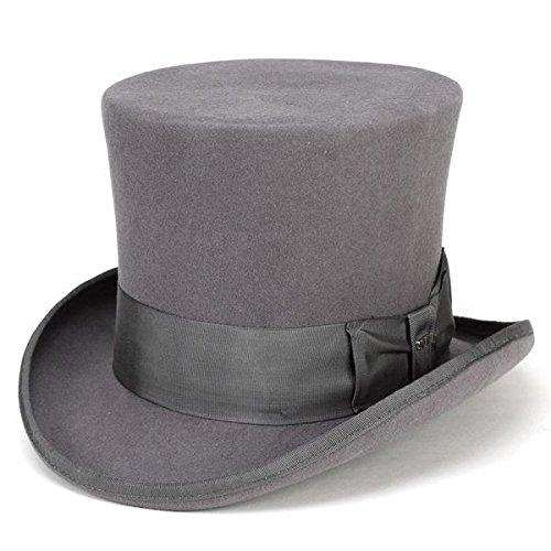 シルクハット フェルト 帽子 スカラ ドレス フォーマル トップハット MAD HATTER 手品 マジシャン コスプレ 灰色 グレー(M(約56.5cm))