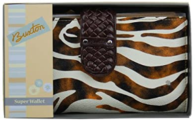 Buxton Super Wallet with Animal Print Design (Brown)