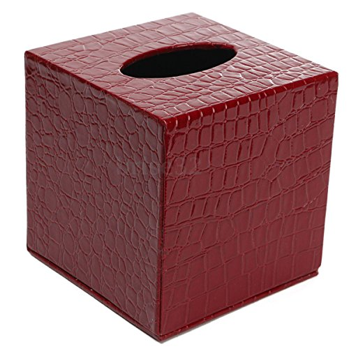 Tissue Holder Boxes Square PU Leather Tissue Box Cover Napkin Holder For Car Office Bathroom Home Decor (Red) (Red Sox Trash Can compare prices)