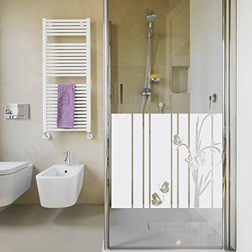 Graz Design 990023_80x57 Sichtschutzdekor Duschtür Dusche Milchglasfolie für Badezimmer Schmetterlinge (Größe=80x57cm)