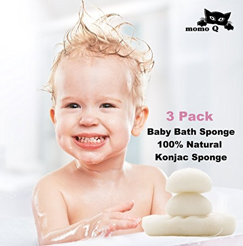 Best Konjac Sponge. 3 pack White Konjac Sponges set. Premium Quality. All Natural, for normal, sensitive & eczema skins. Face wash and body bath. For baby and whole family. Bath Time Body