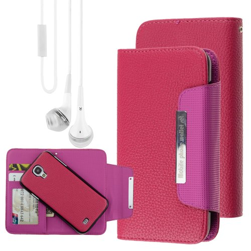 Rose Wallet Card Holder Pouch Detachable Flip Case For Samsung Galaxy S4 + Vangoddy Headphone With Mic, White