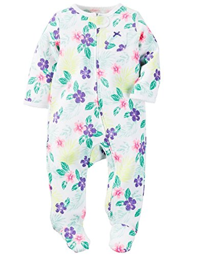 Carter's Baby Girls' Cotton Sleep & Play (3 Months, Hibiscus)