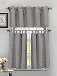 Silver 3 Piece Textured Cotton Blend Jacquard Kitchen Window Curtain Set