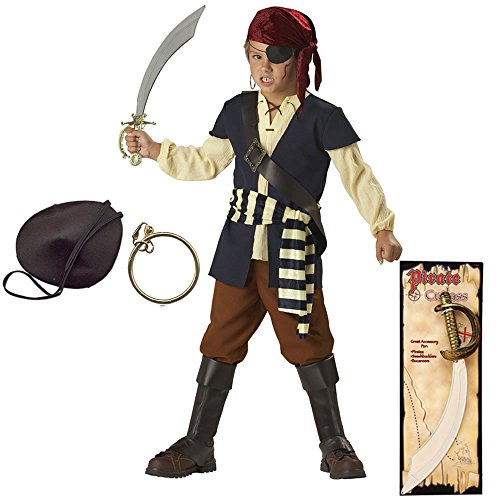 Pirate Mate Child Costume with Pirate Patch, Earring and Pirate Cutlass, Size 6