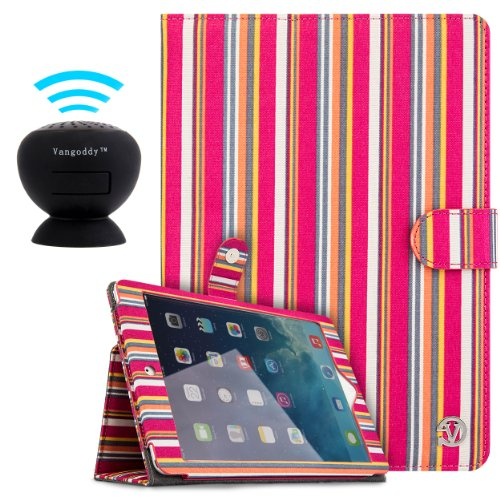 "Vangoddy Dauphine Portfolio | Pink Pastel Stripes - Slim Fit Multi Purpose Book Style Cover Flip Case For Apple Ipad Air 9.7"" Retina Display Wifi & Cellular + Black Mini Suction Bluetooth Speaker With Microphone"