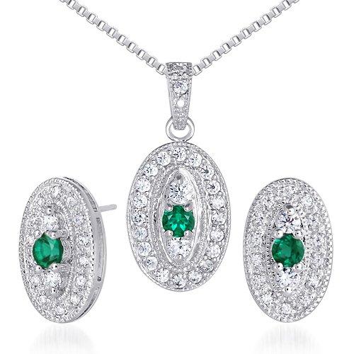 Revoni Vibrant 0.75 carat Round Shape Created Emerald Pendant Earrings Set in Sterling Silver Rhodium Finish