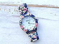 Ryanwayland XMAS Gift New Fashion GENEVA Stainless Steel Flower Style Bracelet Women Ladies Dress Watches Blue