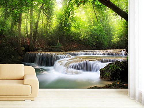 fototapete forest waterfall in verschiedenen gr en als papiertapete oder vliestapete w hlbar. Black Bedroom Furniture Sets. Home Design Ideas