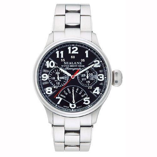 [シーレーン]SEALANE 腕時計 デザインウォッチ 20BAR レトログラード メタル N夜光 SE31-MBK メンズ