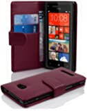 Cadorabo ! PREMIUM - Book Style Hülle im Portemonnaie Design für HTC 8X in BORDEAUX-LILA