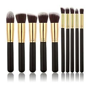 WANGSAURA? 10Pcs Professional Cosmetic Makeup Tool Kit Brush Set Face Powder Eye shadow Eyeliner Blusher (black and golden) by Hotportgift