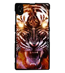 ColourCraft Roaring Tiger Design Back Case Cover for SONY XPERIA Z1