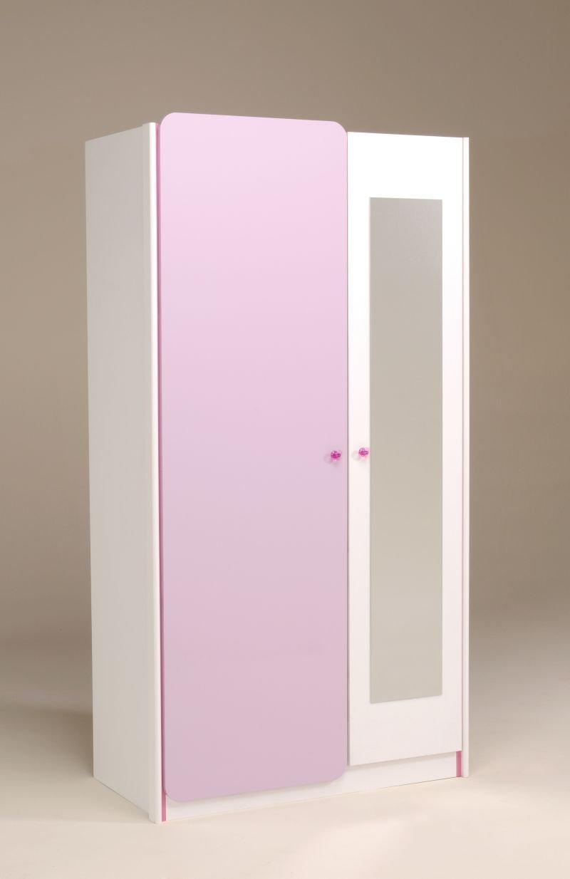 Parisot Kleiderschrank Yasmin 4 – Mademoiselle Kleiderschrank in der Farbe Weiss/lilafarbig-(Flieder-Parme) Hochglanz günstig bestellen