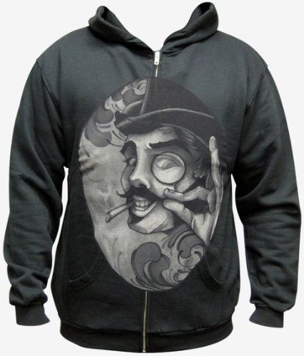 Men's Sneaky Steampunk Man with Top-hat and Monocle by Mitch Allenden Zip-Up Hoodie Black
