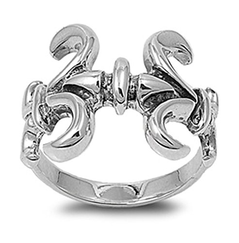 Sterling Silver Woman'S Fleur De Lis New Ring Polished Comfort Fit 925 Band 18Mm Size 7 Valentines Day Gift