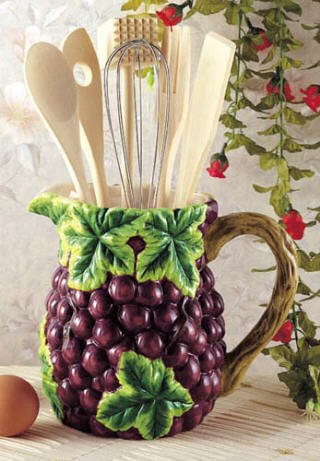 grapes wine kitchen utensil tool set decor pitcher 7 piece. Black Bedroom Furniture Sets. Home Design Ideas