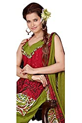 Variation Women's Red Jacquard Unstiched Dress Material (VD11978)
