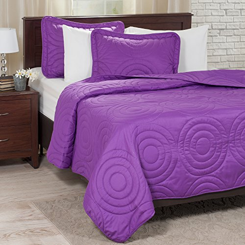 Lavish Home Solid Embossed 3 Piece Quilt Set - Full/Queen - Purple (Queen Quilt Set Purple compare prices)