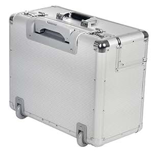 Valise de pilote trolley à roulettes - en aluminium rigide - 46 x 23 x 35 cm - avec poignée télescopique - verrouillable