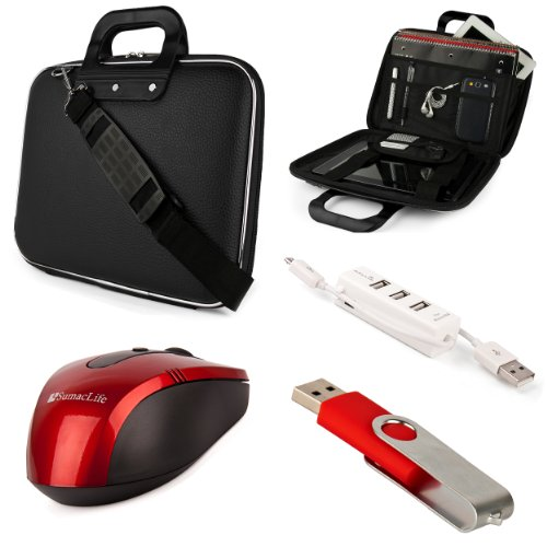 Black Sumaclife Cady Semi Hard Case W/ Shoulder Strap For Asus K52 Series 15.6-Inch Notebook + Red Sumaclife Wireless Usb Mouse And Adapter + Red 4Gb Flash Memory Thumbdrive + Kallin Universal 3 Port Usb Hub With Micro Usb Charger Cable