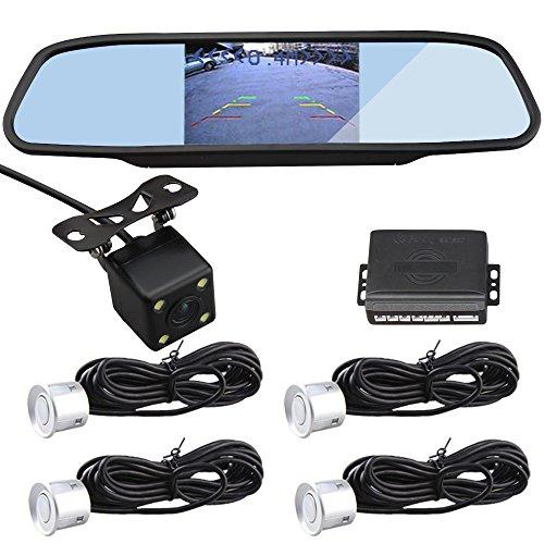 car-rover-parking-sensor-kit-silver-sensor-with-43-inch-rear-view-mirror-and-backup-camera-hd-nightv